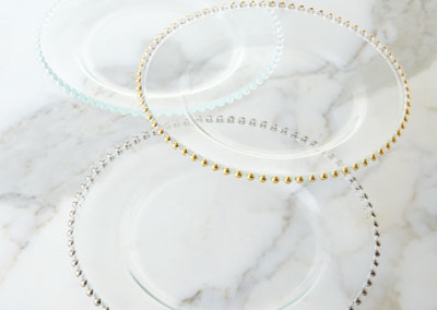 Beaded Chargers ( Gold, Silver and Clear)