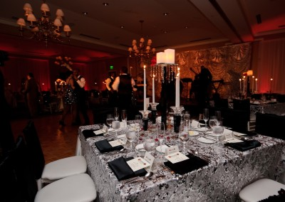 Black Crystal Candlesticks & Centre Piece